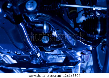 view of automobile mechanical wheel - stock photo