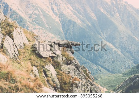 View of autumn nature in Tatra Mountains in Slovakia - vintage film effect