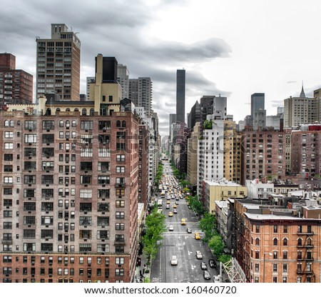 View of avenue in New York. - stock photo