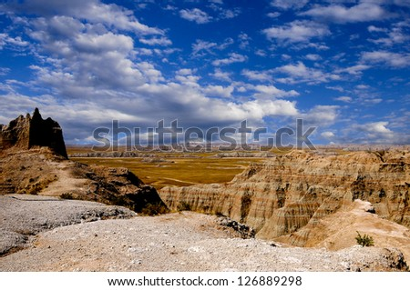 View of Badlands National Park in South Dakota - stock photo