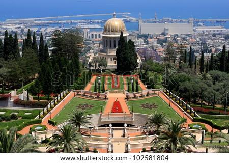 View of Bahai gardens and the Shrine of the Bab on mount Carmel, Haifa, Israel - stock photo
