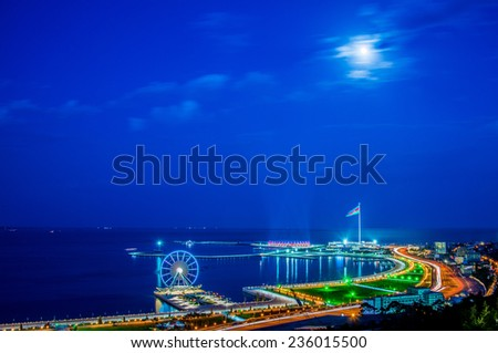View of Baku at night - stock photo
