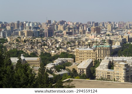 View of Baku old town quarter from above