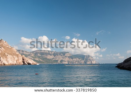 View of Balaklava bay and Black Sea shoreline, southern Crimea - stock photo