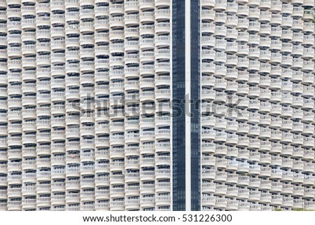 View of balconies of apartment building.
