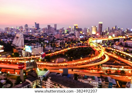 View of Bangkok in the evening. With blur focus from the rooftop of the building.