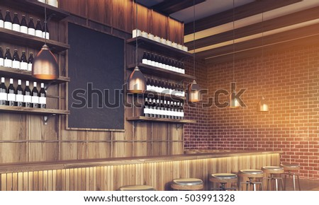 View of bar with blackboard, dark brick walls and wine bottles on shelves. Concept of trendy place to relax. 3d rendering. Mock up. Toned image