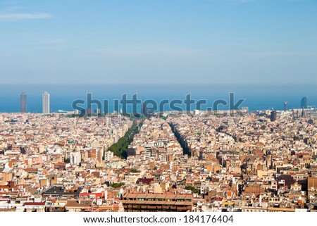 View of Barcelona and sea from a hill in Park Guell - stock photo