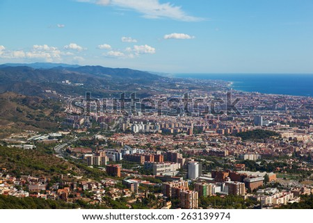 View of Barcelona from park Guel, Spain - stock photo