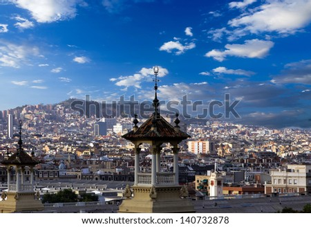 view of Barcelona from the National Museum. Spain - stock photo