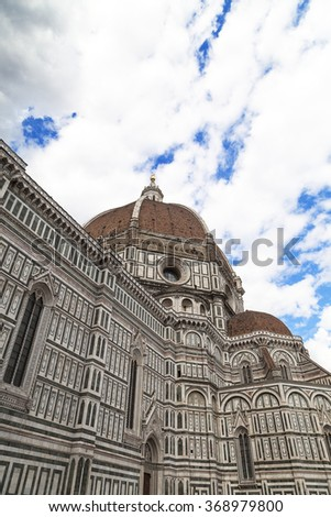view of Basilica di Santa Maria del Fiore in Florence in Italy,Tuscany,  Europe