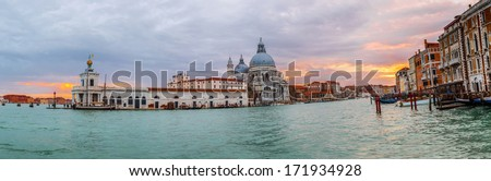 View of Basilica di Santa Maria della Salute at night under very dramatic sunset,Venice, Italy