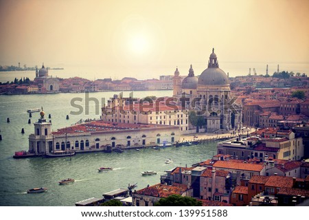View of Basilica di Santa Maria della Salute,Venice, Italy - stock photo