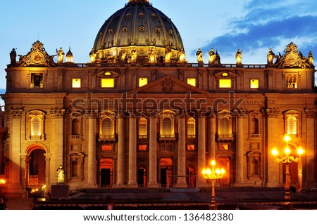 view of Basilica of Saint Peter at sunset in Vatican City, Italy - stock photo