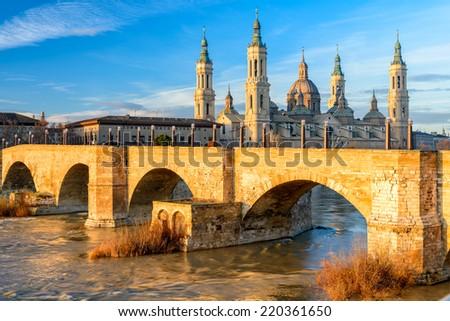 View of Basilica Pilar in Zaragoza , Spain. - stock photo