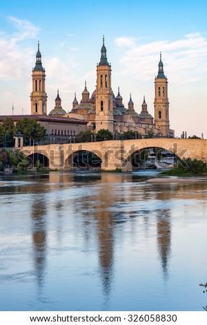 View of Basilica Pillar in Zaragoza , Spain. - stock photo