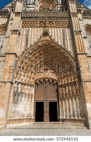 View of Batalha Santa Maria da Vitoria Dominican abbey, Batalha, Portugal - stock photo
