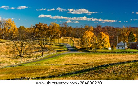 View of battlefields and autumn color in Gettysburg, Pennsylvania.