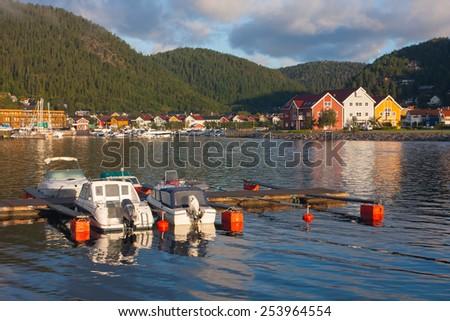 View of bay of morning Namsos, Norway - stock photo