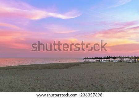 View of Beach in Torremolinos in evening, Spain. - stock photo
