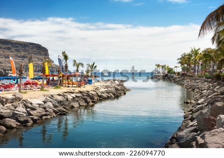 View of beach Puerto Mogan. Gran Canaria. Spain - stock photo