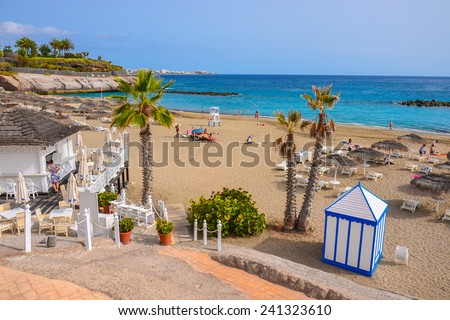 View of beautiful beach of El Duque, Tenerife, Canary islands, Spain  - stock photo
