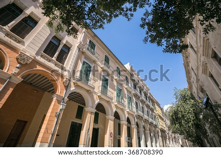 View of beautiful catalonian street in Palma de Mallorca, Spain - stock photo
