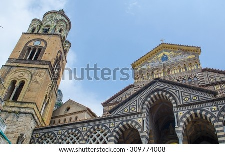 view of beautiful cathedral in italian city amalfi - stock photo