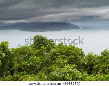 View of beautiful coastal landscape of New Zealand Marlborough Sounds, Cloudy Bay and Port Underwood