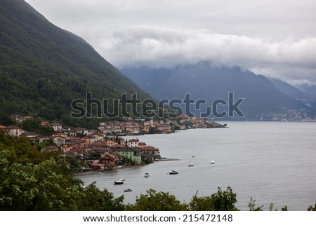 View of beautiful italian village on Como lake
