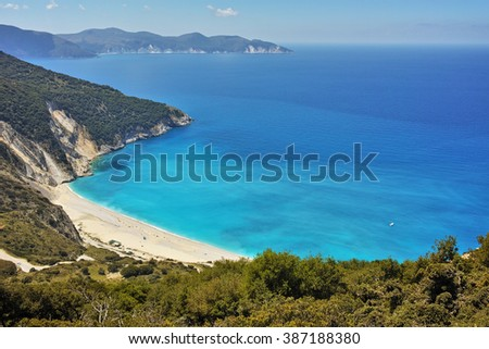 View of beautiful Myrtos bay road to beach, Kefalonia, Ionian islands, Greece - stock photo