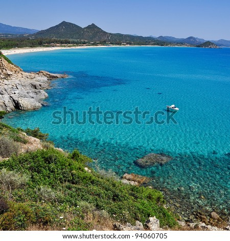View of beautiful sea of Porto Giunco, Villasimius, in Sardinia, Italy. - stock photo