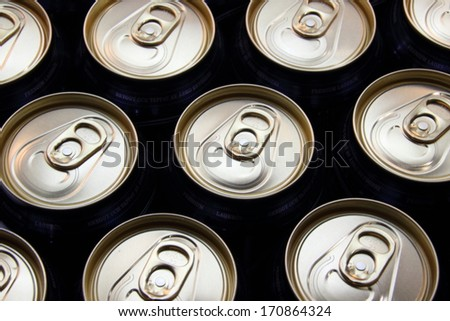 View of beer cans with silver top - stock photo