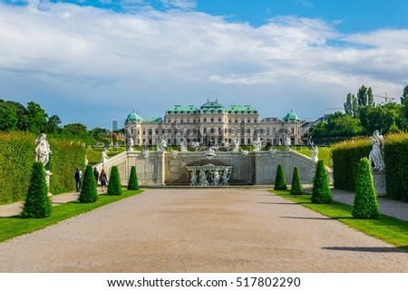 View of Belvedere palace in Vienna and surrounding gardens