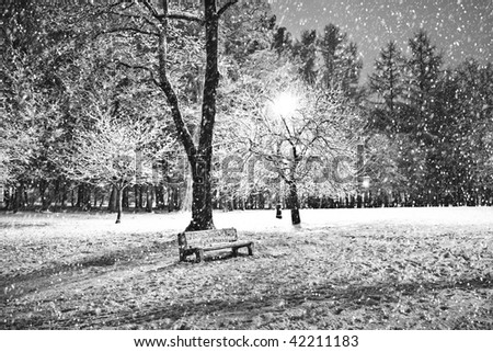 View of bench and shining lantern through snowing. Black and white. Night shot. - stock photo