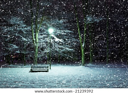 View of bench and shining lantern through snowing. Night shot.