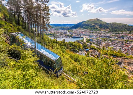 View of Bergen city with lift in Norway