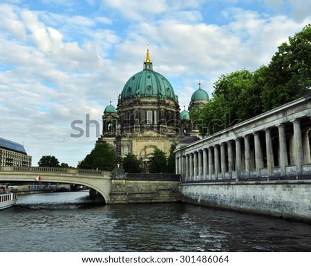 View of Berlin Cathedral from the river boat