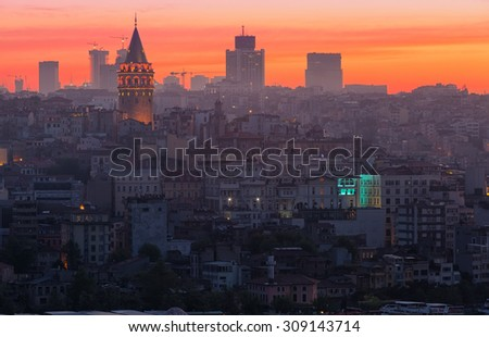 View of Beyoglu's region and Galata tower at sunrise, Istanbul - stock photo
