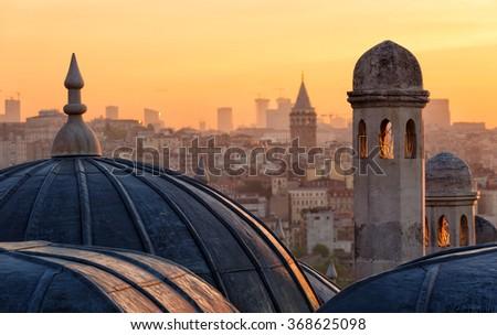 View of Beyoglu's region and Galata tower at sunrise, Istanbul - stock photo