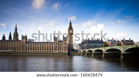 view of Big Ben and Westminster bridge - stock photo