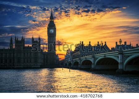 View of Big Ben and Westminster Bridge at sunset, London, UK - stock photo