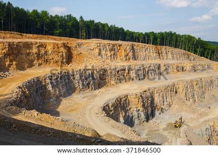 view of big quarry near Krakow in Poland - stock photo