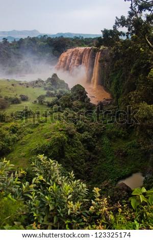 View of Blue Nile waterfalls at Lake Tana in Ethiopia - stock photo