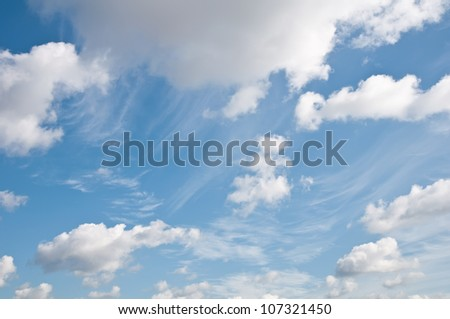 view of blue sky and clouds - stock photo