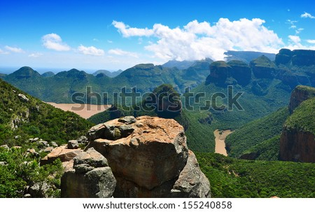 View of Blyde River Canyon in South Africa - stock photo