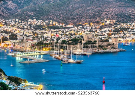 View of Bodrum Castle and Marina, Turkey