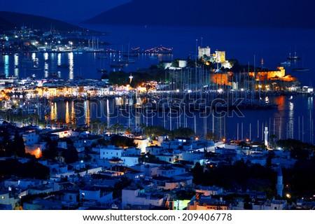 View of Bodrum harbor by night. Turkish Riviera. - stock photo