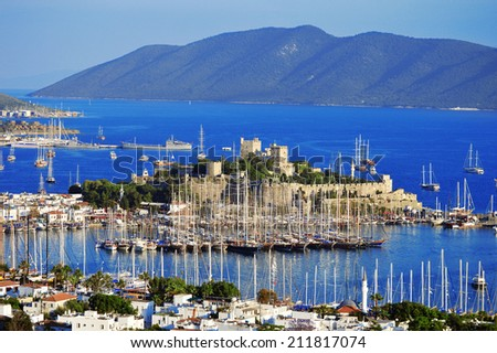View of Bodrum marina on Turkish Riviera. - stock photo