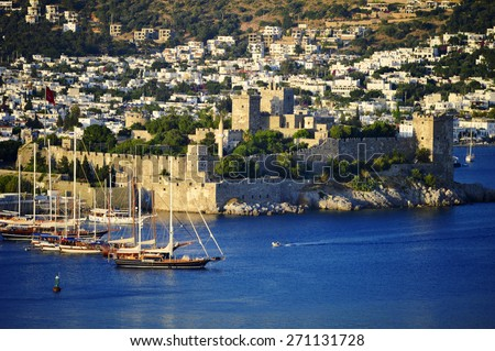 View of Bodrum on Turkish Riviera. - stock photo